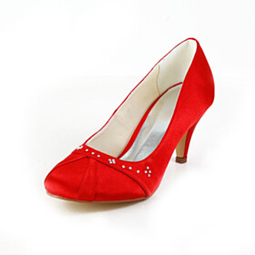 Pumps Rhinestones 7 cm Mid Heel Red Stiletto
