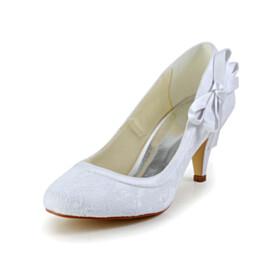 Satin Dress Shoes Pumps 7 cm Mid Heel Womens Footwear Tulle Slip On