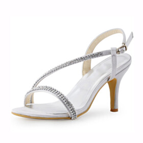 Sandals Strappy Formal Dress Shoes Silver Round Toe 3 inch High Heel Wedding Shoes For Women 2021 Stilettos