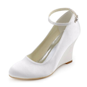 3 inch High Heel Beautiful Wedge Pumps Wedding Shoes For Women With Ankle Strap Closed Toe