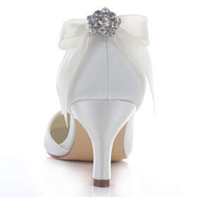 Slip On Wedding Shoes For Women 2021 Bowknot Metal Jewelry 7 cm Mid Heel Spring Dress Shoes