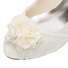 With Rhinestones Stiletto Flower 6 cm Heel Pumps Party Shoes Bridal Shoes Sandals Peep Toe