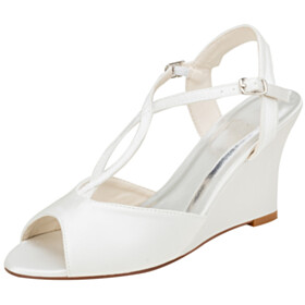 Sandals Round Toe 3 inch High Heeled Strappy Wedge Peep Toe Wedding Shoes