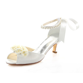 Lacing Up 7 cm Mid Heel With Bow Stiletto Pearl With Ankle Strap Round Toe Wedding Shoes For Women Womens Sandals