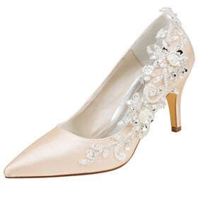 Wedding Shoes For Bridal Pumps Pointed Toe Beautiful Formal Dress Shoes High Heel Stilettos Flower Satin