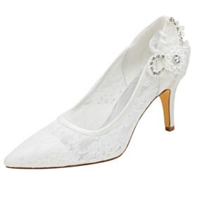 8 cm High Heels Pointed Toe Stiletto Rhinestones Elegant Formal Dress Shoes Pumps Flowers Bridals Wedding Shoes 2021