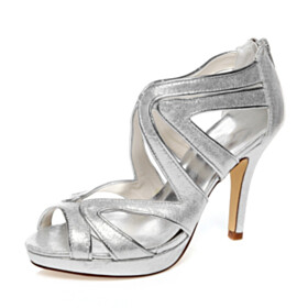 Womens Sandals Sparkly Open Toe Party Shoes Wedding Shoes Silver High Heels Stiletto Sequin Strappy Cut Out