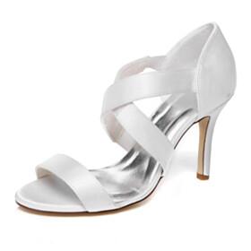 Elegant Stilettos Slip On 4 inch High Heel Womens Sandals White Strappy Wedding Shoes