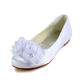 Pumps Dress Shoes Beautiful With Flower White Flats Bridals Wedding Shoes