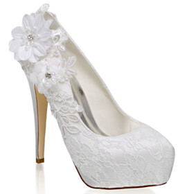 Elegant Appliques Flower Rhinestones 13 cm High Heel Stiletto Beaded Satin Wedding Shoes For Bridal Lace Pumps With Pearl Closed Toe