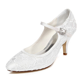 Stilettos Wedding Shoes For Bridal With Ankle Strap 7 cm Heeled White Pumps Flower