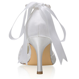 White Stilettos Ankle Strap Satin Pointed Toe Party Shoes 8 cm High Heel Wedding Shoes