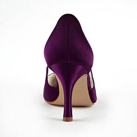 Dress Shoes Womens Footwear Plum Wedding Shoes For Bridal 3 inch High Heel Stilettos Pointed Toe Slip On Satin