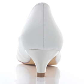 Slip On With Bow Satin Pumps Low Heeled Peep Toe Appliques