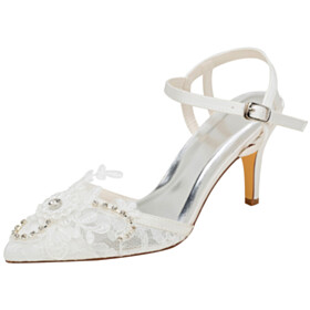 Lace With Ankle Strap Rhinestones Stiletto 8 cm High Heels Wedding Shoes For Bridal Pointed Toe Satin Sandals Beautiful