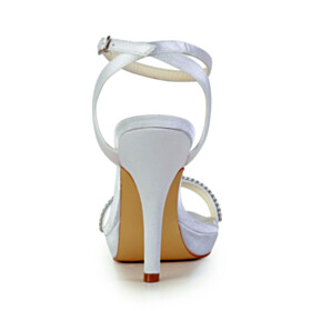 4 inch High Heel Ankle Strap Peep Toe Strappy Bridals Wedding Shoes Stilettos Elegant Sandals For Women White