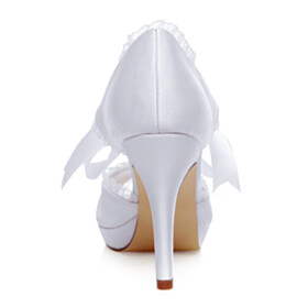 4 inch High Heel Elegant Dress Shoes 2021 With Ankle Strap With Bow Stilettos Pumps Wedding Shoes Peep Toe