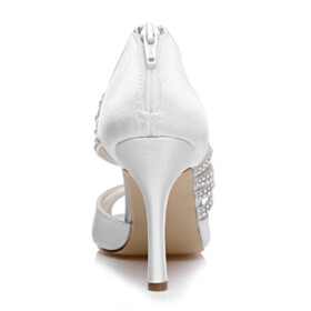 Dress Shoes Open Toe With Rhinestones Satin Strappy White 10 cm High Heel Round Toe Wedding Shoes For Women Pumps