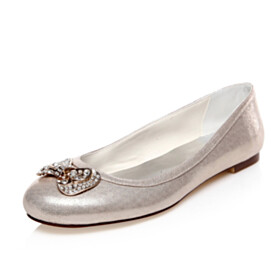 Sparkly Champagne Bowknot Wedding Shoes For Bridal Slip On Flat Shoes Rhinestones Sequin