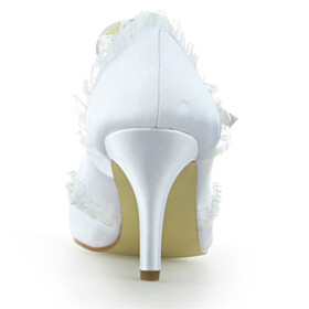 Stilettos Ankle Strap Elegant White 3 inch High Heeled Pointed Toe Pumps Bridals Wedding Shoes