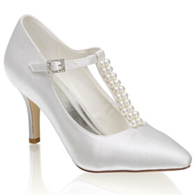 Ankle Strap Stilettos Satin Pointed Toe 3 inch High Heel Pumps Evening Party Shoes Bridal Shoes