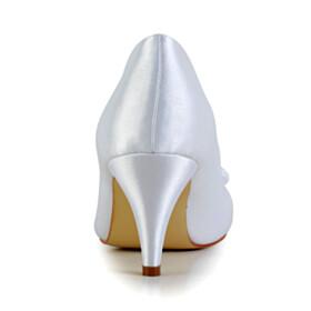 White Elegant Pumps Satin Mid Heels Round Toe Wedding Shoes For Bridal Dress Shoes With Rhinestones