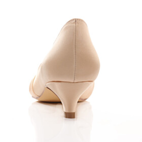 Wedding Shoes For Women Satin Low Heel Beautiful Pumps Champagne Pleated Sandals For Women
