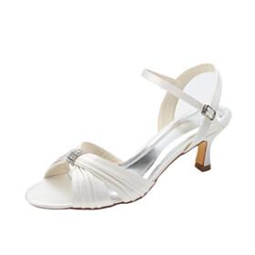 Pleated With Rhinestones Satin Stiletto Stylish 6 cm Heeled Round Toe Strappy Sandals
