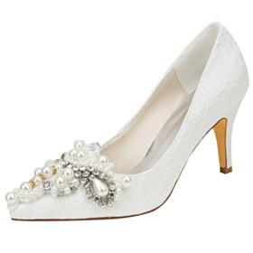 Rhinestones 3 inch High Heeled Satin With Pearl Elegant Stilettos Pumps