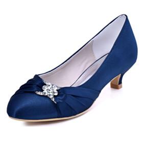 Beautiful Pumps Dress Shoes Dark Blue Stilettos Almond Toe Metal Jewelry Low Heels Kitten Heel