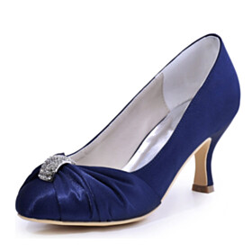 Stilettos Mid High Heeled With Metal Jewelry Pumps Dark Blue Pleated Stylish Wedding Shoes