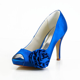 Slip On Peep Toe Royal Blue Wedding Shoes 4 inch High Heeled Party Shoes Satin Formal Dress Shoes