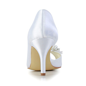 White Peep Toe Beaded Wedding Shoes For Bridal Satin Pumps Round Toe 3 inch High Heel Flowers Beautiful Stilettos