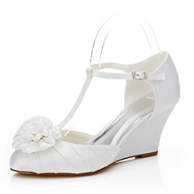 Flowers Evening Party Shoes Satin Wedges With Ankle Strap 7 cm Mid Heels Bridal Shoes