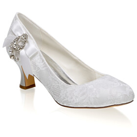 Fringe Stiletto With Flower Mid Heels Pumps Wedding Shoes For Bridal Metal Jewelry With Bowknot Closed Toe Beautiful
