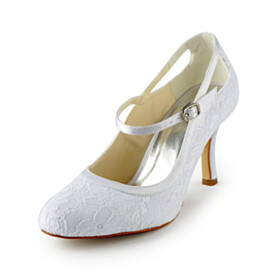 Beautiful White 3 inch High Heel Ankle Strap Tulle Round Toe Dress Shoes Bridal Shoes Pumps Stiletto