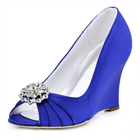Pleated Beautiful Wedge Royal Blue 2021 Slip On Evening Party Shoes 3 inch High Heel Pumps Round Toe Peep Toe Rhinestones Wedding Shoes For Bridal