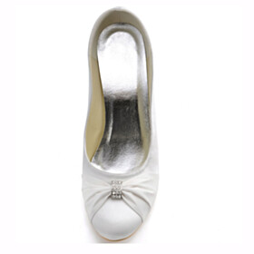 Dress Shoes 2021 Wedges Slip On Closed Toe With Rhinestones Pumps Satin 8 cm High Heel With Metal Jewelry