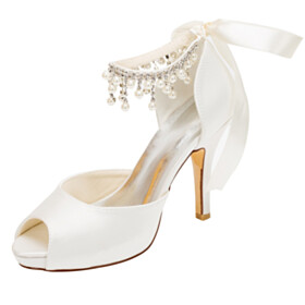 Wedding Shoes Peep Toe Sandals With Ankle Strap Round Toe Bowknot Party Shoes 4 inch High Heel Fringe