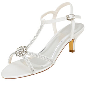 Rhinestones Stilettos Mid Heels White Bridals Wedding Shoes Sandals