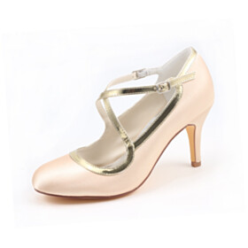 Pumps Champagne Strappy Beautiful Satin Bridal Shoes Dress Shoes Color Block 3 inch High Heel Round Toe