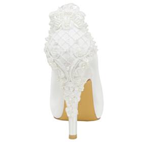 Elegant Satin Round Toe 4 inch High Heel Pearl Stilettos Wedding Shoes For Women Pumps Womens Sandals