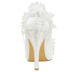 10 cm High Heels Wedding Shoes For Bridal Dress Shoes Appliques Elegant Round Toe Sandals Stilettos Flowers Open Toe Pumps