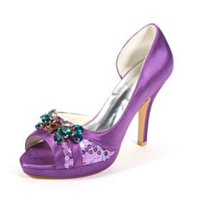 Wedding Shoes For Bridal Purple 10 cm High Heel Sandals Stilettos Satin Open Toe