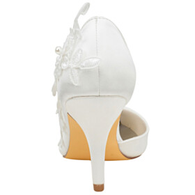 D orsay Dress Shoes Stiletto Pointed Toe Appliques Closed Toe Flower Wedding Shoes 3 inch High Heeled