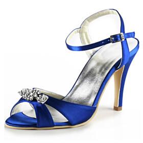 Wedding Shoes Royal Blue Dress Shoes Heeled High Heels Round Toe Stylish Sandals Strappy Stilettos