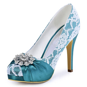 Elegant Satin 2021 Stilettos Round Toe Lace Metal Jewelry Pumps 4 inch High Heel Pleated Dress Shoes Light Blue Wedding Shoes For Women