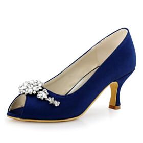 Wedding Shoes Beautiful Womens Sandals Peep Toe 7 cm Heel Metal Jewelry Formal Dress Shoes Pumps