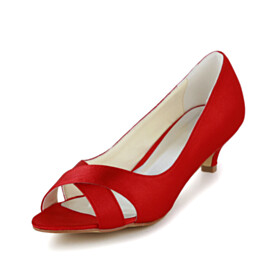 Open Toe Dress Shoes Kitten Heel Bridals Wedding Shoes Red Low Heel Satin Slip On Pumps