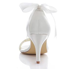 Cute Sandals White Ankle Strap Elegant Peep Toe Bowknot Bridals Wedding Shoes High Heels
